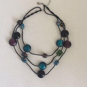 Vintage Triple Strand Beaded Necklace